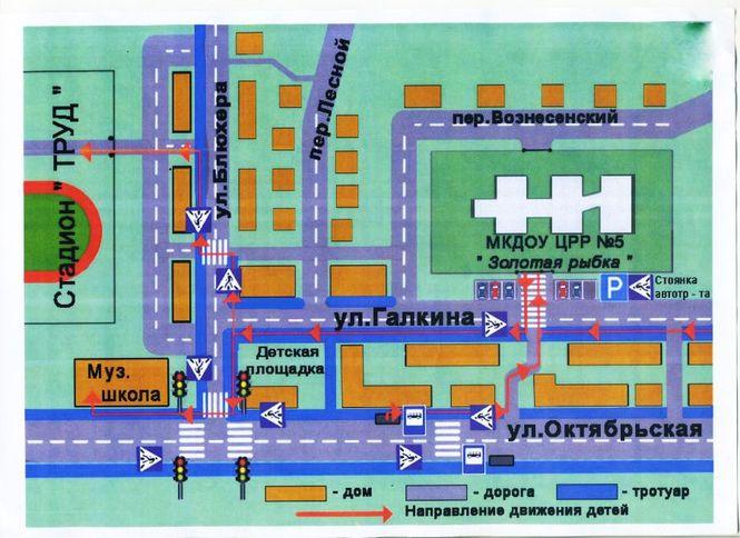План-схема района расположения ОУ, пути движения транспортных средств и детей (дошкольников)